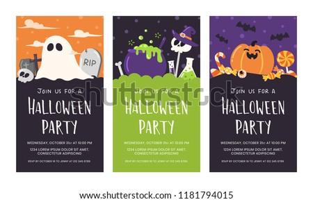 Cute Halloween party invitation card set.