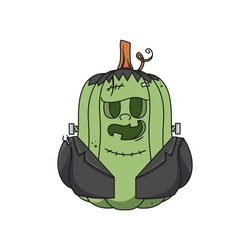 Cute Halloween Pumpkin Frankenstein monster isolated on white background. Colorful whimsical hand drawn vector character for invitations, decor, greeting card, sticker, poster, advertising, web.