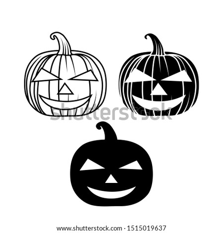 Cute halloween pumpkins. Halloween icon and character. Isolated on white background. Flat style, line style and silhouette style vector illustration