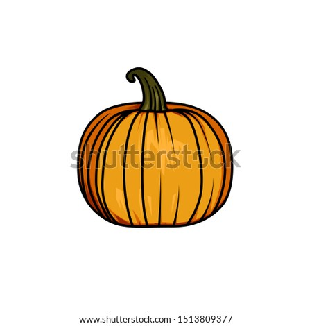 Cute halloween pumpkins. Halloween icon and character. Pumpkin icon. Isolated on white background. Flat style, line style and silhouette style vector illustration
