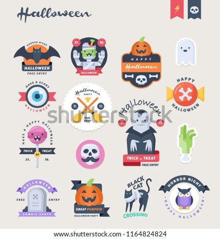 Cute Halloween stickers, badges and labels. Vector illustration.