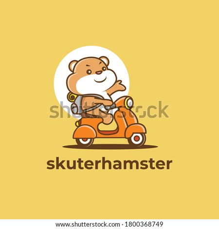 cute hamster is riding a scooter