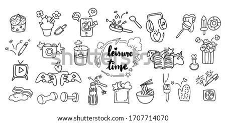 cute hand draw doodle art of leisure time or free time cartoon style concept for stay home and stay connected use. Stock fotó ©