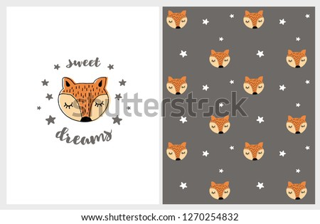 Cute Hand Drawn Abstract Fox Vector Illustration and Pattern. Lovely Sweet Dreams Nursery Art on a  White Background. Little Foxes Head and White Stars on a Brown Background. Funny Infantile Style. Stockfoto ©