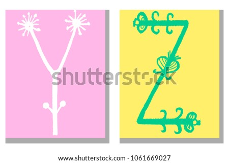 Cute Hand Drawn Alphabet In Flower Style Made Vector Doodle Letters Y Z