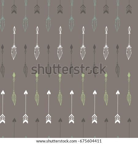 Cute hand drawn arrows seamless pattern. Vector illustration in boho style