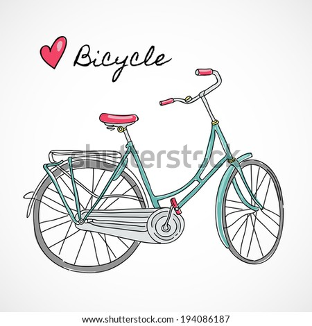 Cute hand drawn bicycle in Amsterdam European street sport hipster style