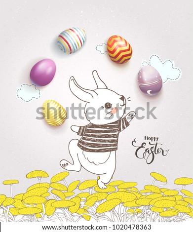 cute hand drawn bunny dressed