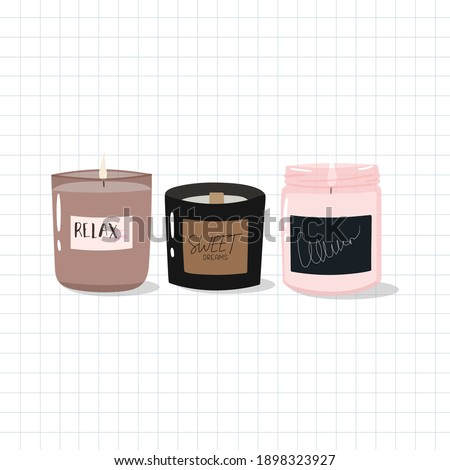 Cute hand-drawn candles in scandinavian style. Hygge time. Candle in glass jar. Aroma candles for cozy evening at home.