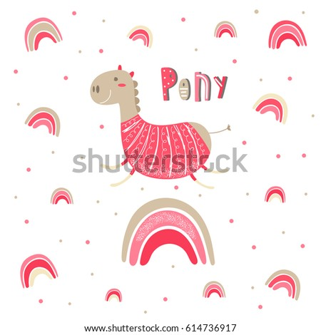 Cute hand drawn card, postcard with pink little pony, polka dots, rainbow. Background, cover for children in cartoon style