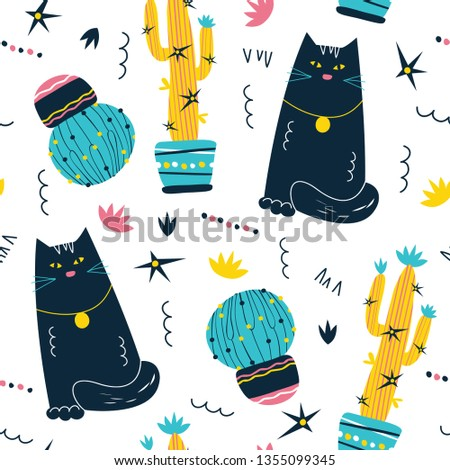 Cute hand drawn cat and cactus seamless pattern. Exotic, tropical background. Scandinavian cartoon doodle style. Bright catchy background, for wrapping paper, scrapbooking, wallpaper, children's print