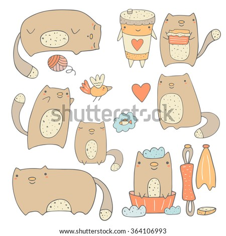 cute hand drawn cats collection