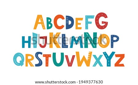 Cute hand drawn childish alphabet. Hand drawn ABC for poster, logo, greeting card, banner, children's room decor. Set of handdrawn letters, vector Photo stock ©