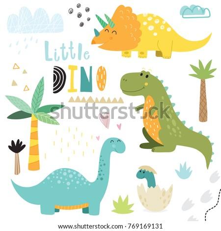 cute hand drawn dinosaurs