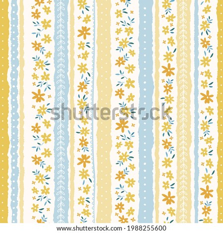 Cute hand drawn ditsy seamless pattern, lovely floral background, great for textiles, banners, wallpapers, wrapping - vector design