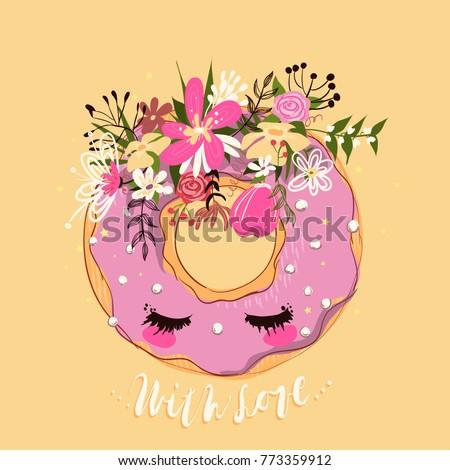 cute hand drawn donut  doughnut