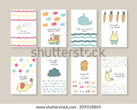 Cute hand drawn doodle baby shower cards, brochures, invitations with star, whale, waves, carrot, rabbit, elephant, ball, cloud, rain drops, owl, bows, moon, notes, train. Cartoon animals background