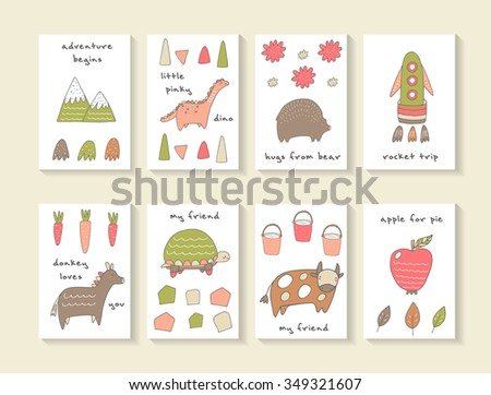 Cute hand drawn doodle cards, brochures, invitations with mountain, dinosaur, bear, rocket, carrot, donkey, turtle, cow, bucket, apple, leaf. Cartoon animals, objects background for children