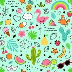 Cute hand drawn doodle elements seamless pattern for summer background.