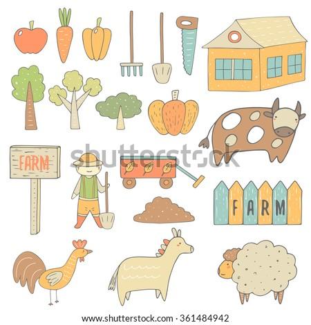 cute hand drawn doodle farm...