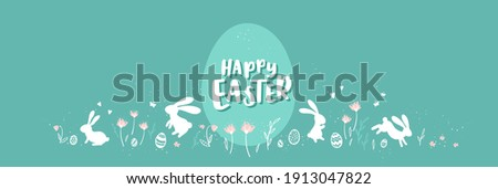 Cute hand drawn Easter horizontal design with bunnies, flowers, easter eggs, beautiful background, great for Easter Cards, banner, textiles, wallpapers - vector design  stock photo