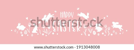 Cute hand drawn Easter horizontal design with bunnies, flowers, easter eggs, beautiful background, great for Easter Cards, banner, textiles, wallpapers - vector design Photo stock ©