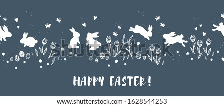 Cute hand drawn Easter horizontal seamless pattern with bunnies, flowers, easter eggs, beautiful background, great for Easter Cards, banner, textiles, wallpapers - vector design