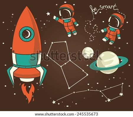 Постер, плакат: planets constellations astronauts floating, холст на подрамнике