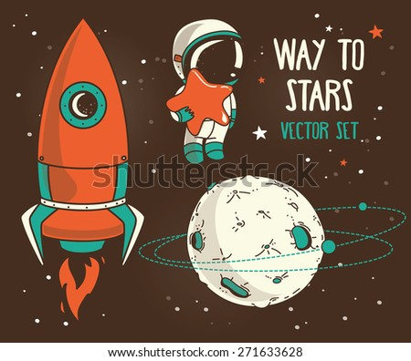 Постер, плакат: planets constellations astronauts floating, холст на подрамнике