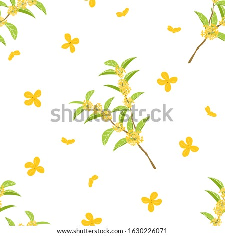 Cute hand drawn flowering tree background. Cartoon fragrant tea olive tree pattern background. Sweet osmanthus or osmanthus fragrans and evergreen foliage background. Great for wallpaper, textile. Foto d'archivio ©