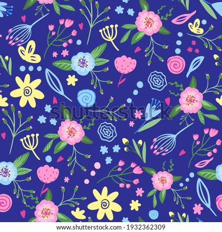 Cute Hand drawn flowers. Seamless pastel pattern with flowers. pink flowers. Pattern for textiles, clothing, wrapping paper and more