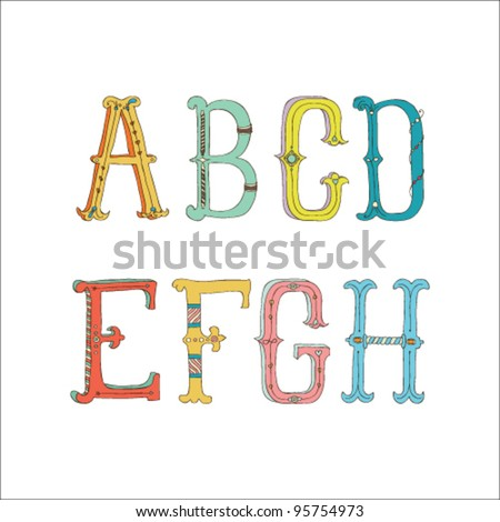 Cute hand drawn font.  Vector letters set A-H
