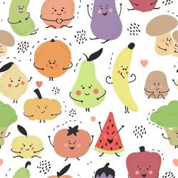 Cute hand drawn fruits and vegetables. Cartoon doodle style. Funny characters. Colorful summer print. Orange, banana, potato, pear, watermelon, cucumber, lemon, mushrooms. Vector seamless pattern.