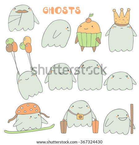 cute hand drawn ghosts