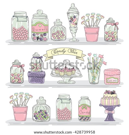 cute hand drawn glass jars with