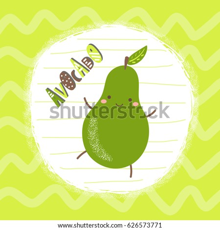 stock-vector-cute-hand-drawn-green-avocado-character-with-abstract-elements-stripes-and-lettering-quote-avocado