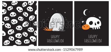 cute hand drawn halloween cards