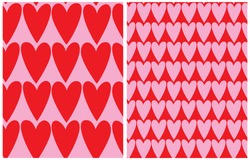 Cute Hand Drawn Heart Seamless Vector Pattern. Red Hearts Isolated on a Light Pink Background. Tiny Pink Heart on a Red Layout. Funny Infantile Style Romantic Print for Fabric, Textile, Valentines.