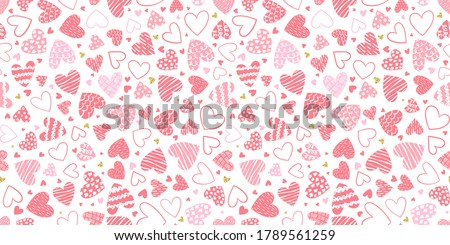 Cute hand drawn hearts seamless pattern, lovely romantic background, great for Valentine's Day, Mother's Day, textiles, wallpapers, banners  - vector design ストックフォト ©