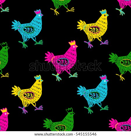 Cute hand drawn hen in seamless pattern in Vector. Animal background with doodle domestic birds hen or rooster. Funny hen seamless background in vivid colors. Hen Set for design