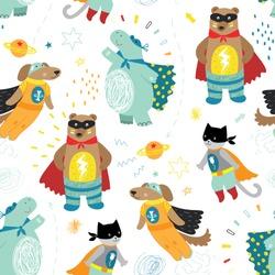 cute hand drawn kids superhero seamless pattern with dog, cat, bear and hippo