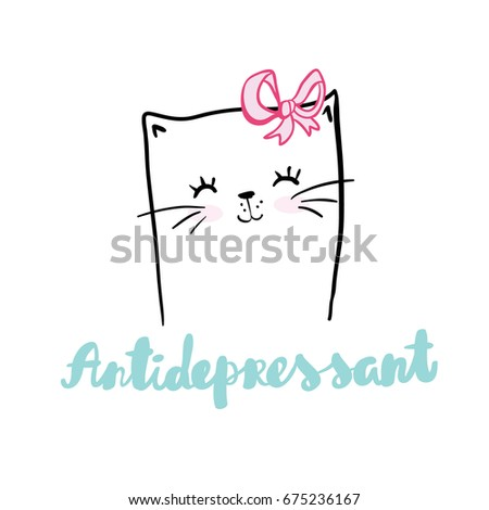 cute hand drawn kitty inside