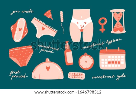 Cute hand drawn menstrual period objects on colorful background with lettering. Zero waste menstrual period concept. Decorative elements for design. Flat cratoon vector illustration.