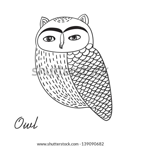 Cute hand drawn owl bird illustration