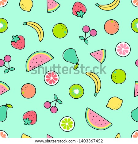 Cute hand drawn pastel tropical fruits seamless pattern for summer background.