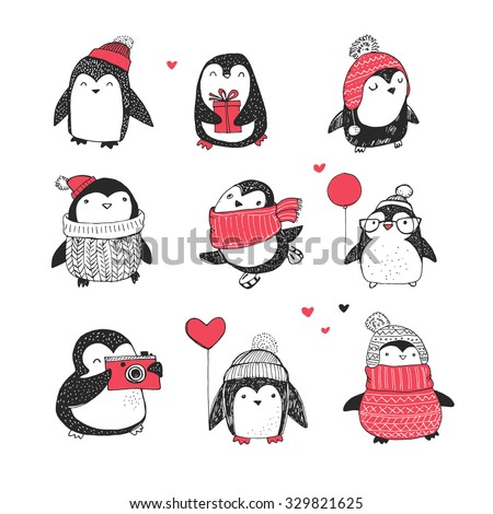 cute hand drawn penguins set