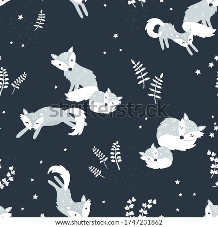 cute hand drawn polar foxes