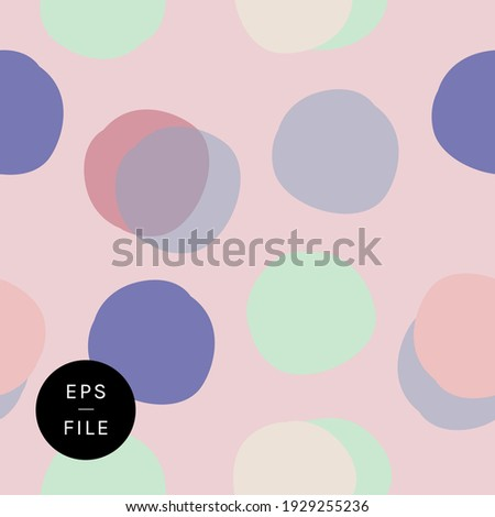 Cute hand drawn polka dots polka dot seamless pattern. Round shapes uneven circles pretty blue mint green lilac pink background. Editable timeless classic with a twist wrapping paper wallpaper textile