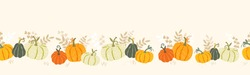Cute hand drawn pumpkin horizontal seamless pattern, hand drawn pumpkins - great as Thanksgiving background, textiles, banners, wallpapers, wrapping - vector design