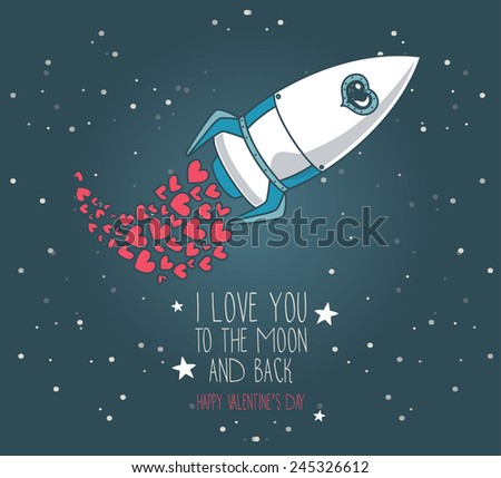 cute hand drawn rocket with